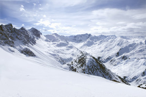 View of snowy mountain range